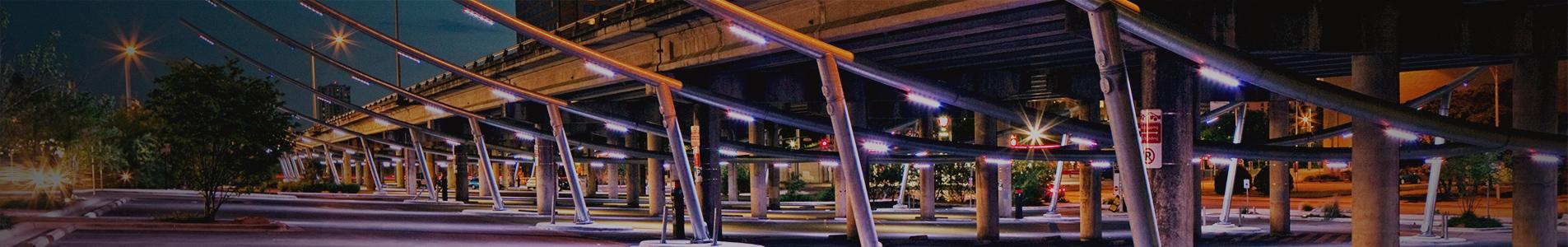 Lights near rail bridge