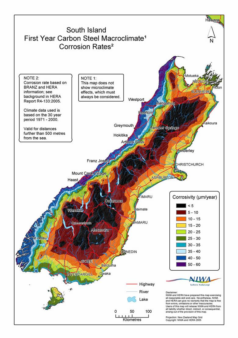 South Island Corrosion Map