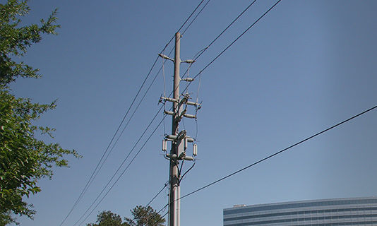 Newmark pole with wires