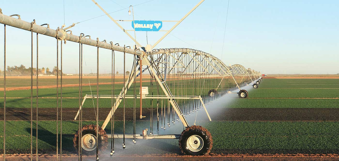 Frontal Dos ruedas irrigation machine
